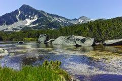 Landscape with Sivrya peak and Banski lakes Royalty Free Stock Photos