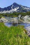 Landscape with Sivrya peak and Banski lakes, Pirin Mountain Royalty Free Stock Photo