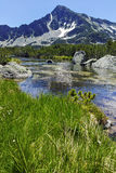 Landscape with Sivrya peak and Banski lakes, Pirin Mountain Royalty Free Stock Images