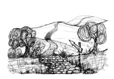 Landscape sketch. Road leaving in distance, a sketch on white paper Stock Images