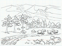 Landscape sketch Royalty Free Stock Photos