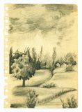 Landscape sketch. Vintage sketchbook page with landscape sketch. Pencil drawing Royalty Free Stock Photos