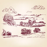Landscape sketch drawing Stock Photography