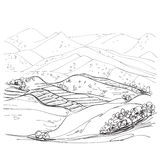 Landscape sketch drawing Royalty Free Stock Images