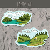 Landscape sketch drawing Royalty Free Stock Photo