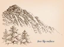 Alpine landscape sketch royalty free illustration