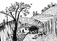 Landscape sketch with people. And houses Royalty Free Stock Image
