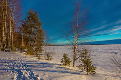 Landscape sketch of a winter`s evening, overlooking the lake. Landscape with a beautiful sunset on a winter evening Royalty Free Stock Photos