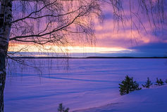 Landscape sketch of a winter`s evening, overlooking the lake. Landscape with a beautiful sunset on a winter evening stock images
