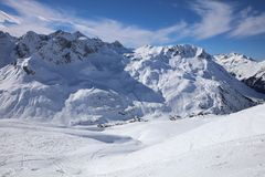 Landscape at Ski Resort in Arlberg Mountains. Austria Royalty Free Stock Photo