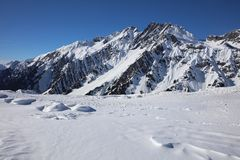 Landscape at Ski Resort in Arlberg Mountains Royalty Free Stock Photography
