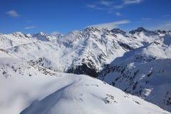 Landscape at Ski Resort in Arlberg Mountains. Austria Stock Photo