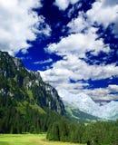 Landscape of a ski resort in Switzerland stock image