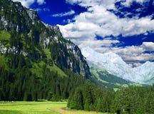 Landscape of a ski resort in Switzerland royalty free stock photos