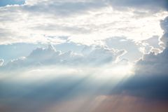 Landscape. sky with clouds background. sun ray on daylight. The heaven, place of god concept. paradise on earth. dawn of the day. light in the dark day concept stock photo