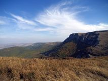 Landscape with sky and clouds in Crimean mountains. On the picture Royalty Free Stock Image