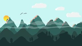 Landscape sky mountains illustration Royalty Free Stock Photos