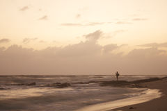 Landscape of sky , sea and beach which has photographer on rock Stock Photography