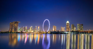 Landscape of skyline Singapore financial district Royalty Free Stock Images
