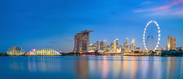 Landscape of skyline Singapore financial district Stock Photos