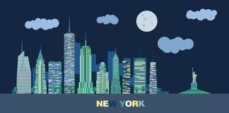 The landscape of skyscrapers of night New York City. With the statue of liberty. Vector flat illustration Royalty Free Stock Image