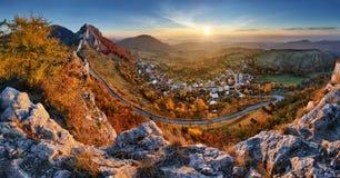 Landscape of Slovakia autumn panorama at sunrise Stock Photos