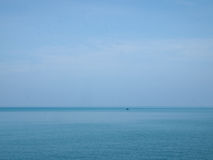 Landscape of small boat in the sea at Ao Khung Wiman, Chanthabur Royalty Free Stock Photo