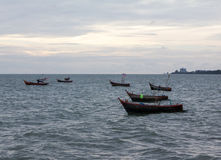Landscape small boat are on sea Royalty Free Stock Image