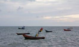 Landscape small boat are on sea Stock Photos