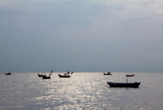 Landscape small boat on sea Stock Photography