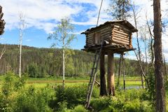 Landscape with small building on a pole. North Siberia, Russia Royalty Free Stock Photo