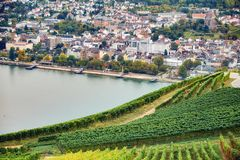 Landscape with small german town, agriculture field, forest, vineyard and tourist route. Shot made from observation spot. Aerial view to the Bingen am Rhein town royalty free stock images