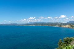 Landscape with small greek islands and bays of Navarino on Peloponnese, Greece, summer vacation destination, eco tourism stock photo