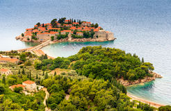 Landscape of the small island and resort Sveti Stefan. Montenegro. Landscape of the small island and resort Sveti Stefan.Coast Budva Riviera. Mediterranean sea royalty free stock photo
