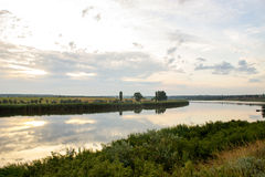 Landscape with small river on steppe Stock Photos