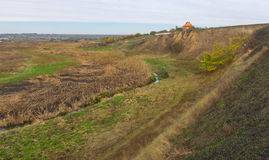Landscape with small river Sura in Dnepropetrovsk oblast, Ukraine Stock Photos