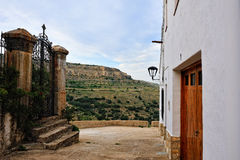 Landscape with small spanish old town Ares Stock Photos