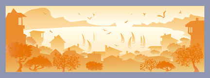 Landscape with small town. Golden landscape with small town, with sailboats and seagulls flying stock illustration