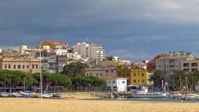 Landscape of small town, Palamos, in Costa Brava of Spain stock video footage