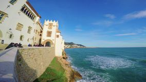 Landscape from the small town Sitges in Spain, 01 February 2017, town Sitges, Catalonia, Spain stock footage