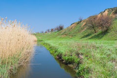 Landscape with small Ukrainian river Sura Royalty Free Stock Photo
