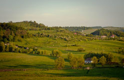 Landscape. A small village, near Targu Mures, Romania Royalty Free Stock Photo