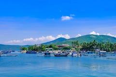 Landscape of small village in seashore Ninh Hoa, Khanh Hoa, Vietnam.