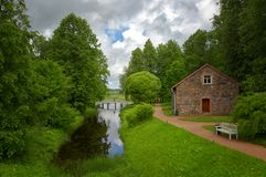 Landscape with small wooden bridge Stock Photos
