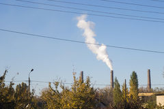 Landscape with smoking chimneys power station Royalty Free Stock Image