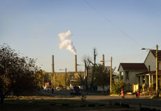 Landscape with smoking chimneys power station Royalty Free Stock Photography