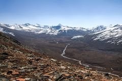 Landscape of snow capped mountain range. A view from Babusar Pass. Pakistan. royalty free stock photography