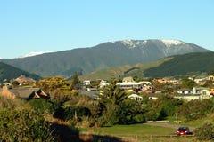 Landscape of snow capped Tararua Ranges as seen from Waikanae Estuary. Wellington, New Zealand, circa 2013 Stock Photos
