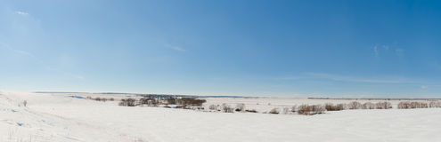 Landscape of a snow-covered field and blue sky. Stock Photo