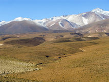 Landscape with snow-covered mountains in the Atacama Desert Chile Stock Image